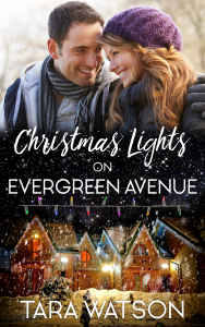 Ebook cover for Christmas Lights on Evergreen Avenue: A smiling couple and a house lit up with Christmas lights