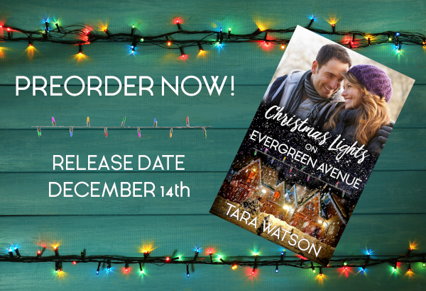 "Book cover of Christmas Lights on Evergreen Avenue on a background of Christmas Lights. Text: ""Preorder Now! Release Date December 14th"""